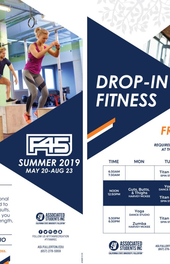 2019 Summer Drop in Fitness and F45 Schedule